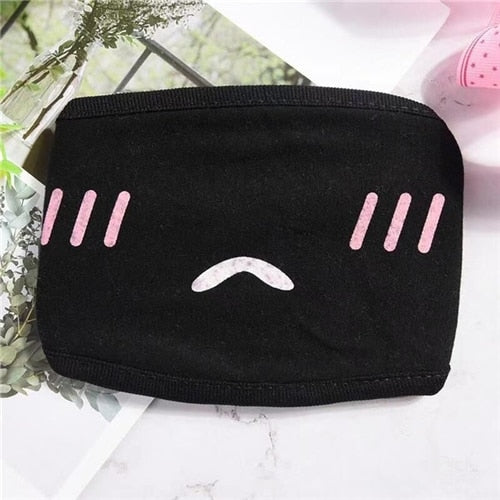 Black Mask for Female Male Face Mask Cotton Anime Mouth Mask Anti-dust Pollution Masks Cute Masker for Woman Man