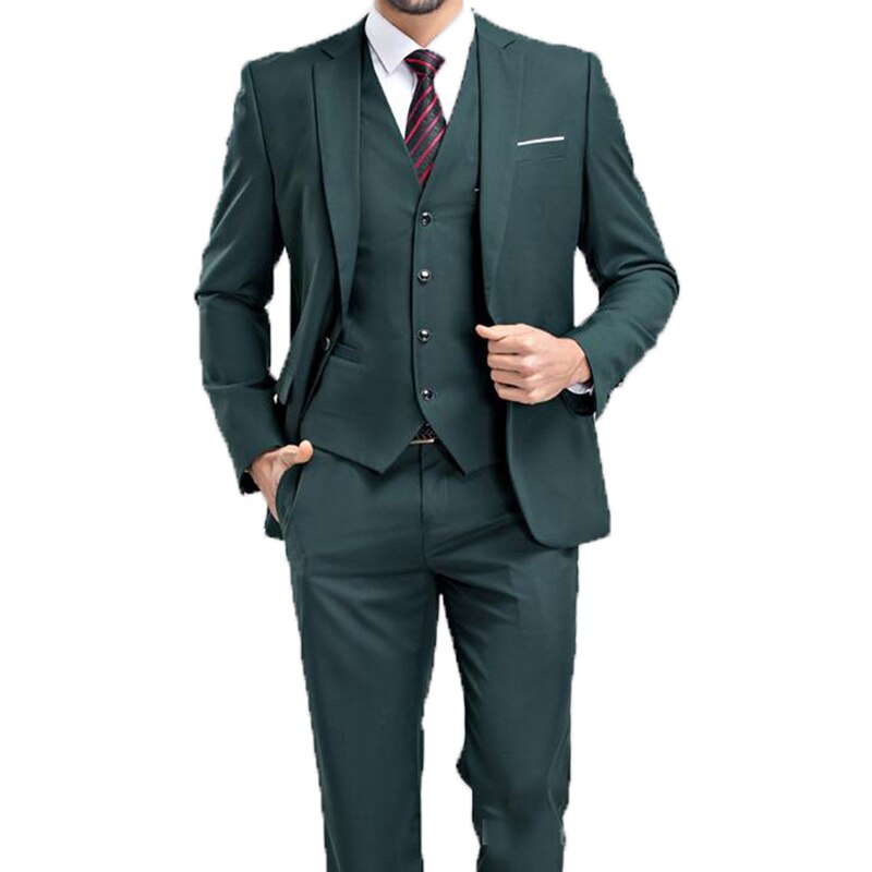 2020 Hot Recommend Dark Emerald Hunter Green Groom Tuxedos Notch Lapel Men Blazer Prom Dresses Business Suit (Jacket+Pants+Vest)