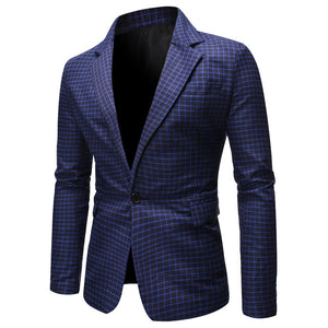 Mens Plaid Checked Suit Blazer 2020 Spring New Slim Fit One Button Notch Lapel Casual Deily Dress Suit Jacket Blazer Masculino