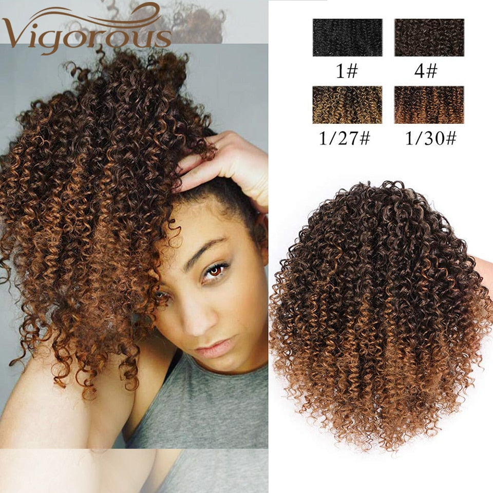Vigorous Afro Kinky Curly Ponytail African American Short Wrap Synthetic Drawstring Puff Pony Tail Clip in Hair Extensions