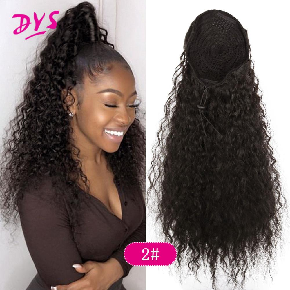 Drawstring Puff Long Kinky Afro Curly Ponytail Synthetic African American Hair Extension Ponytail Clip in Hairpiece
