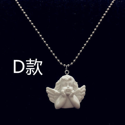 Cute Cupid Angel Pendant Stainless Steel Necklace, Long Chain Baby Shaped Jewelry Sweetheart for Women Man Friendship Girl Gifts