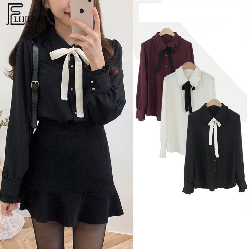 Chiffon Blouses Shirts New Hot Sales Preppy Style Girls Bow Tie Tops Cute Sweet Korean Temperament Lady Peter Pan Collar Shirt