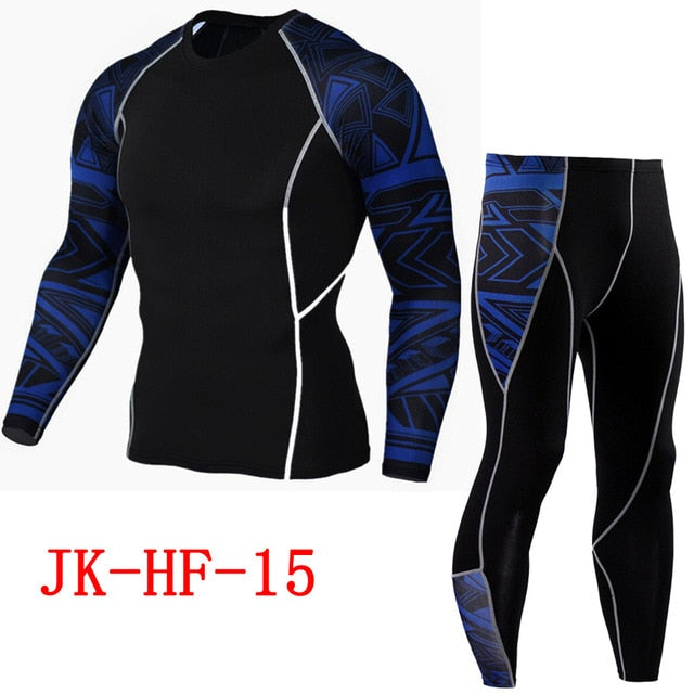 Newest 2Pcs/Set Men's Tracksuit Gym Fitness Compression Sports Suit Clothes Running Jogging Sport Wear Exercise Workout Tights