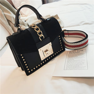Small Handbags Fashion Shoulder Bags for Women 2020 Frosted PU Leather Hand Bags Rivet Chain Flap Ladies Crossbody Bag Red Brown