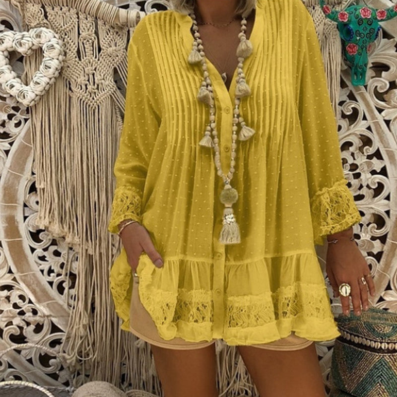 Plus Size Lace Hollow Out Blouses Shirts Casual V Neck Long Sleeve Female Tunic Loose Dot Baggy Autumn Womens Tops And Blouses