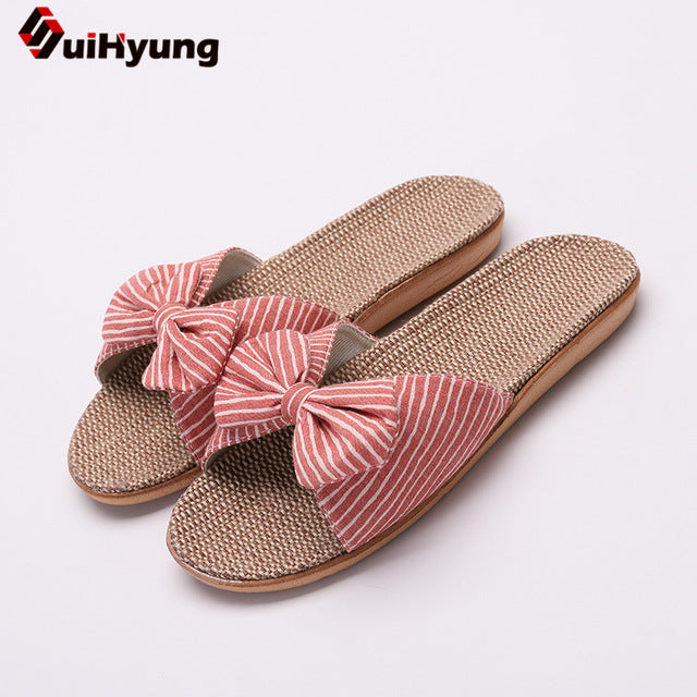 Suihyung Women Summer Casual Slides Comfortable Flax Slippers Striped Bow Linen Flip Flops Platform Sandals Ladies Indoor Shoes
