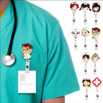 Retractable Nurse ID Name Card Badge Holder Cute Clips Key Card Holder Belt Clips Key chain