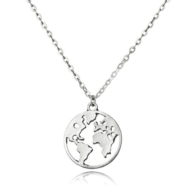 Hot Selling Round Hollow Multi Double Layers World Map Necklace Fashion Outdoor Travel Lover Earth Day Gift Personalized Jewelry