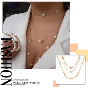 Elegant Flower Pearl Choker Necklaces For Women Gold Coin Bow Knot Pendant Necklace Long Chain Jewelry Party Gifts