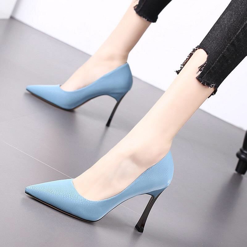 Chic Stiletto Sexy Light Blue High Heels Pointed toe Court office Shoes Classic Fashion Casual Faux leather heels comfortable