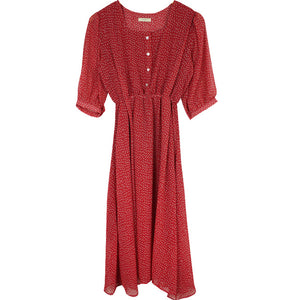 Mozulev 2020 Vintage Square Collar Dot Print Women A-line Dress Short Sleeve Summer Chiffon Female Dress Red Vestidos femme