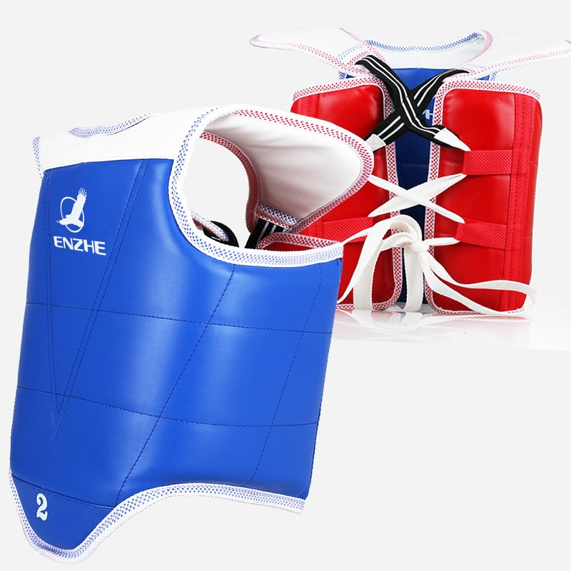 WTF approve Taekwondo chest guard kids adult red blue Karate Taekwondo protectors back supporters TKD armor Double-sided wear