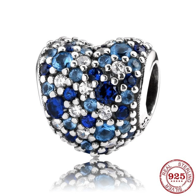 925 Silver blue charms bead Swan Anchor Heart round shape fit Pandora Bracelet Jewelry