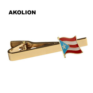 Puerto Rico Country Flag Metal Tie Clip Clamp Gold Tie Pin For Wedding Business KS-0239-T