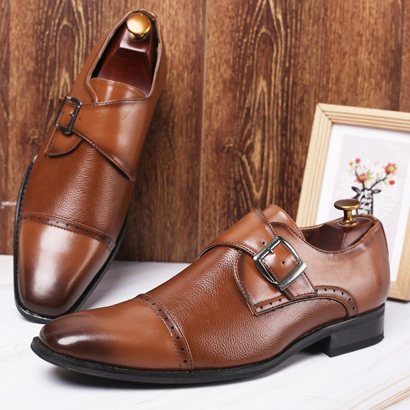 Merkmak Business Formal Leather Shoe Pointed Toe Dress Shoes Fashion Buckle Office Footwear Big Size Male Party Wedding Footwear