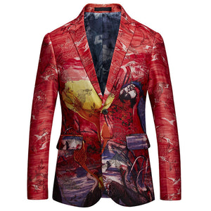 PYJTRL Luxurious Men Retro Vintage Slim Fit Blazer Suit Jacket Artist High Quality Jacquard Coat