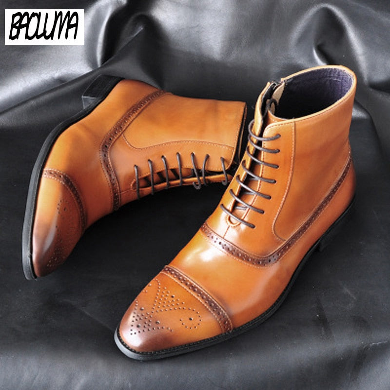 Classic Men Boots Poly Urethane Dress Shoes Outdoor Autumn Lace-UP  Ankle Boots
