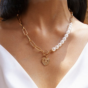 IngeSight.Z Punk Imitation Pearl Choker Necklace Collar Statement Gold Color Love Heart Lasso Pendant Necklace for Women Jewelry