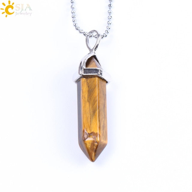 Real Raw Gem Pink Purple Crystal Hexagonal Bullet Reiki Point Chakra Natural Stone Pendant 2021 Necklace Women Jewelry