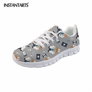 INSTANTARTS Spring Nurse Flat Shoes Women Cute Cartoon Nurses Printed Women's Sneakers Shoes Breath Mesh Flats Zapatos de Mujer