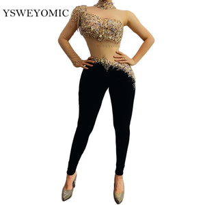 Multi-color Rhinestones Fringe Transparent Sleeve Jumpsuit Black Velvet Leggings Bachata Latin Dance Outfit Bar Singer Outfit