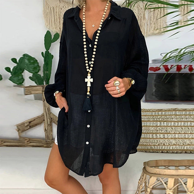 Solid Cotton Linen Tunic Summer Loose Button Shirts For Women Casual Turn-down Collar Long Sleeve Women Blouses Plus Size Tops