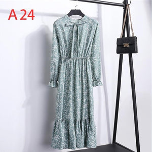 2020 Autumn Women Dress For Female Long Sleeve Chiffon Shirt Dress A-line Midi Winter Dress White Bow Floral Vestidos Vintage