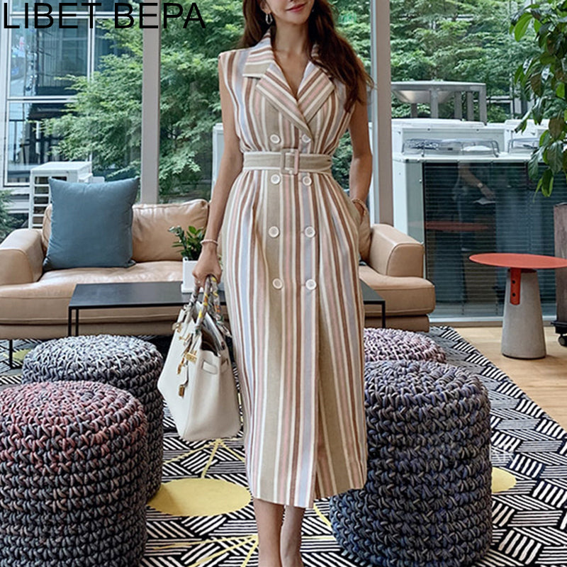 2020 New Autumn Women Wrap Dress Striped Lace Up Bow Single-breasted Cotton and Linen Sleeveless Casual High Waist Dresses DR012