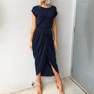 2020 Long Party Dresses Plus Size Summer Short Sleeve Women Dress Elegant Maxi Loose Vestidos Casual Sundresses Female XXL XXXL