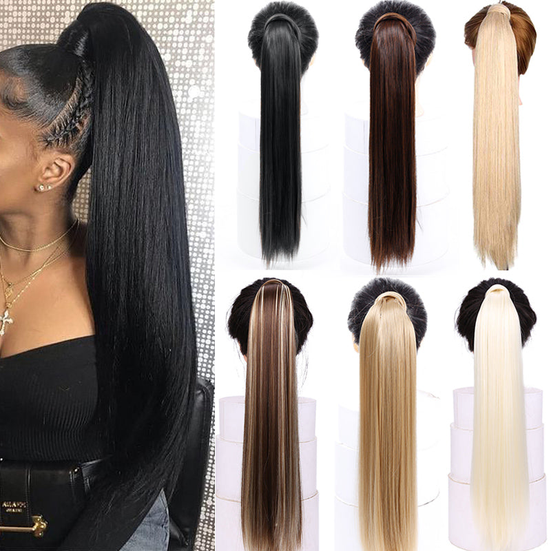 "AOSI Straight Clip In Hair Tail False Hair 24"" Ponytail Hairpiece With Hairpins Synthetic Pony Tail Hair Extensions For Women"