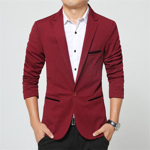 Covrlge 2018 Spring Autumn New Men Blazer Fashion Slim Fit Male Suit Jacket Coat Elegant Mens Dress Clothes Wedding Coat MWX013