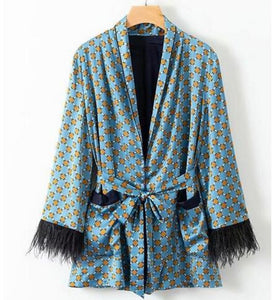 toppies 2020 Blue Printed Kimono Jacket with Feather Sleeves Wide Leg Loose Cuasal Trousers Women Vintage Clothing Suits