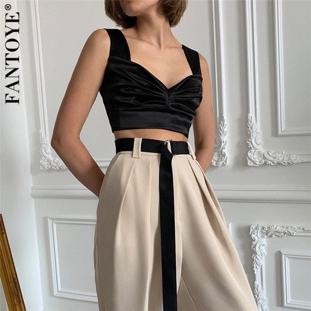 Fantoye Sexy Satin V Neck Women Camisole Tank Tops Casual Summer Silk Ruched Tops For Women Sleeveless Bustier Crop Tops Camis