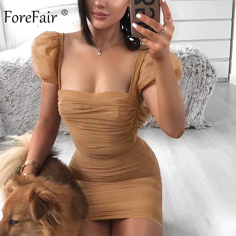 Forefair Puff Sleeve Mesh Sexy Dress Summer Mini Square Neck Vintage Fashion 2020 Club Party Bodycon Dress Women