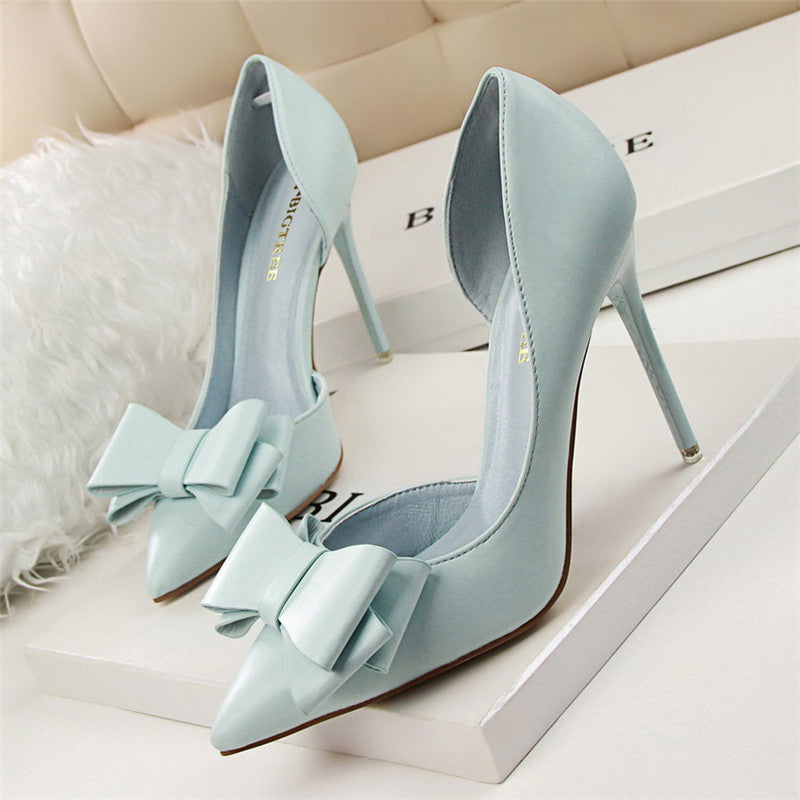 2020 Fashion Delicate Sweet Bow knot High Heel Shoes Side Hollow Pointed Women Pumps Pointed Toe 10.5CM thin Dress Shoes