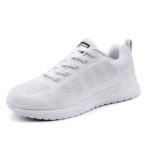 Women Casual Shoes Fashion Breathable Walking Mesh Lace Up Flat Shoes Sneakers Women 2019 Tenis Feminino White Vulcanized Shoes