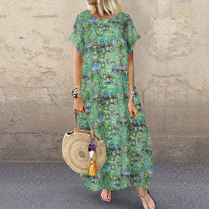 S 5XL ZANZEA Summer Bohemian Sundress 2020 Women Party Long Dress Casual Vintage Short Sleeve Floral Printed Vestido Female Robe