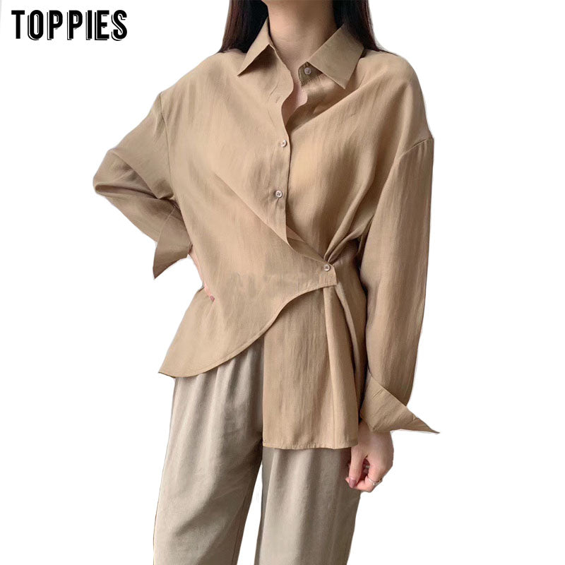 Toppies white blouses tops women korean long sleeve shirts asymetrical cotton shirts solid color 2020 spring