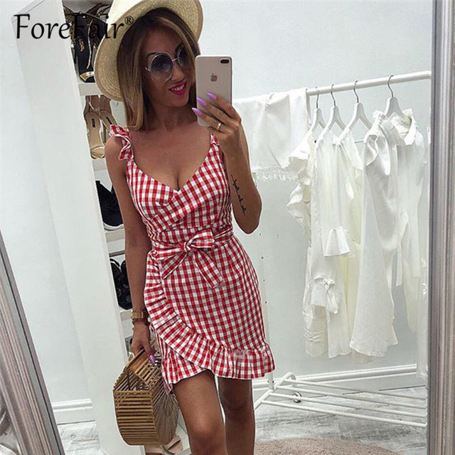 Forefair women casual Plaid Dress vintage ruffle backless wrap Sexy Dresses Sleeveless v neck tie waist Mini Summer dress 2019