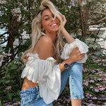 Sexy Candy color Women Off Shoulder Sheer Mesh Puff Long Sleeve Ruffle Crop Tops Shirt Blouse Tops