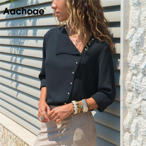 Aachoae Blouse 2020 Fashion Long Sleeve Women Blouses and Tops Skew Collar Solid Office Shirt Casual Tops Blusas Chemise Femme