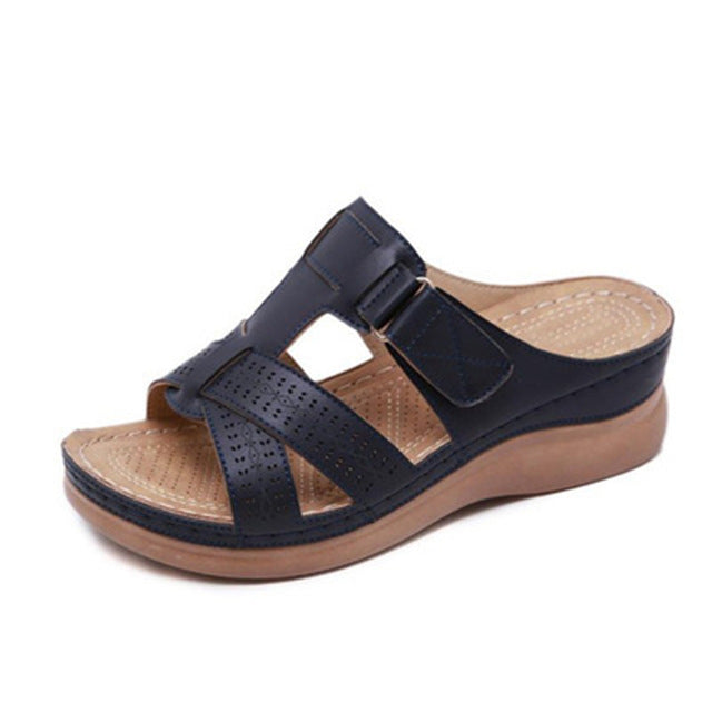 Shoes Woman Summer Sandals For Women Shoes Comfy Soft Women Sandals Retro Wedge Low Heels Shoes Thick Bottom Ladies Sandals