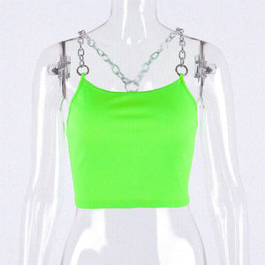 Hugcitar chains spaghetti straps neon green patchwork sexy camis 2019 summer women fashion club party streetwear female crop top