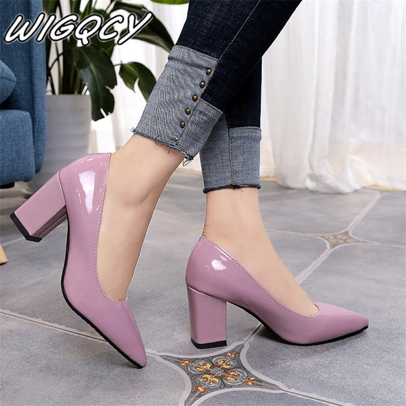 2020 Women's High Heels Sexy Bride Party mid Heel Pointed toe Shallow mouth High Heel Shoes Women shoes big size 35-43