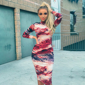 Hugcitar 2019 print tie dye long sleeve colorful sexy midi dress autumn winter women bodycon party streetwear outfits