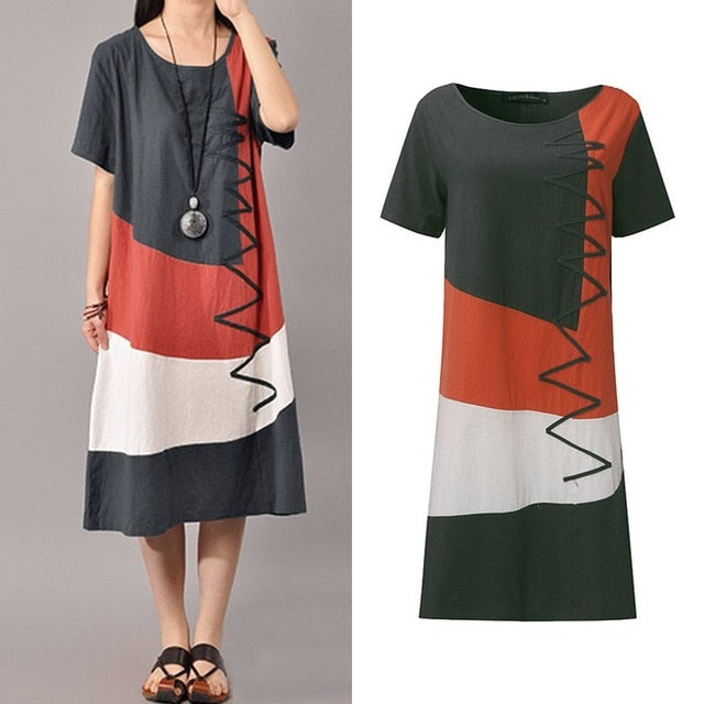 Women Patchwork Sundress ZANZEA 2020 Summer Maxi Dress Kaftan Casual Sleeveless Tunic Vestido Female 100% Cotton Robe Plus Size
