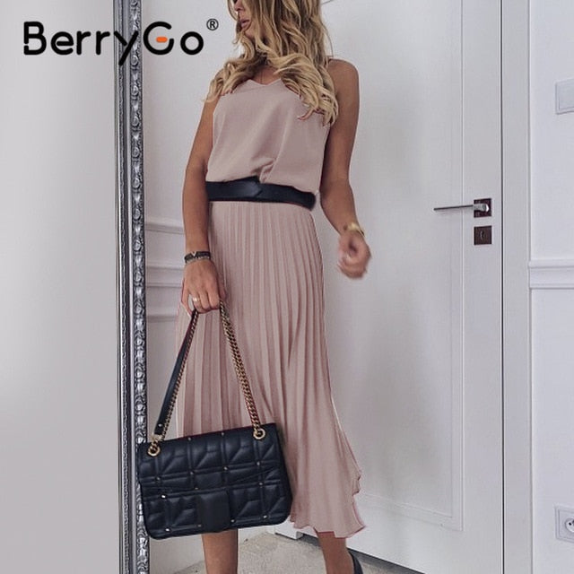 BerryGo Sexy spaghetti strap summer dress women A-line hot pink female pleated midi dress Casual office ladies party dresses