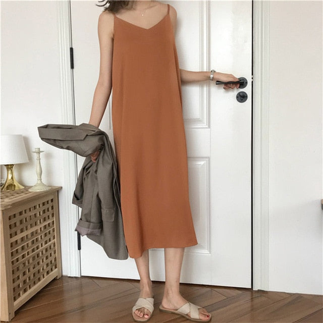 Black Spaghetti Strap Summer Dress Women Korean Quality V Neck Elegant Sundress Sexy Robe Femme Vintage Loose Women's Dress Midi