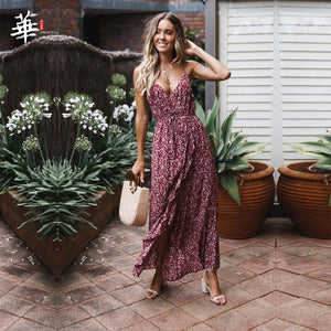 V-neck Split Women Floral Dress 2020 Elegant Bohemian Wrap Long Flower Plus Size Summer Dresses Female Holiday Sexy Beach Vest